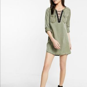 Express army green jean dress